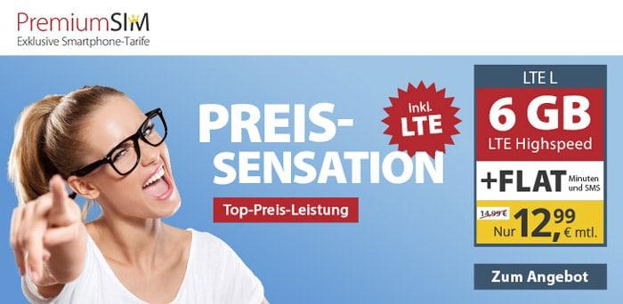 PremiumSIM Allnet-Flat mit 6 GB LTE für 12,99 € - Telefonica-Netz