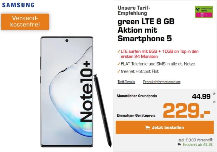 Samsung Galaxy Note 10 Plus mit md green LTE Telekom