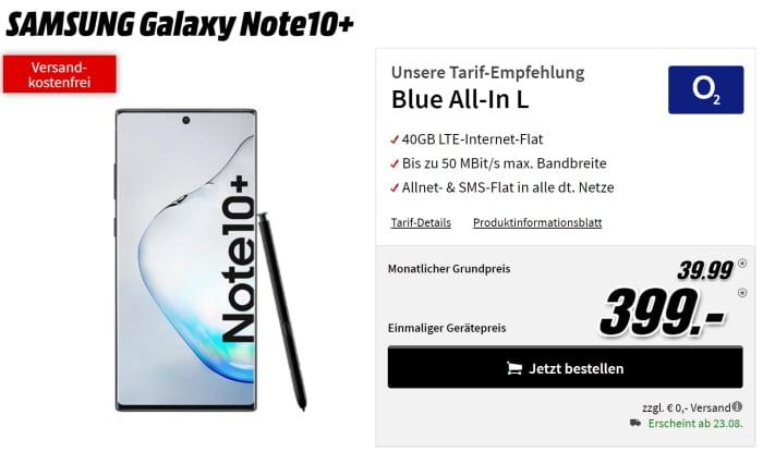 Samsung Galaxy Note 10 Plus zum o2 Blue All-in L