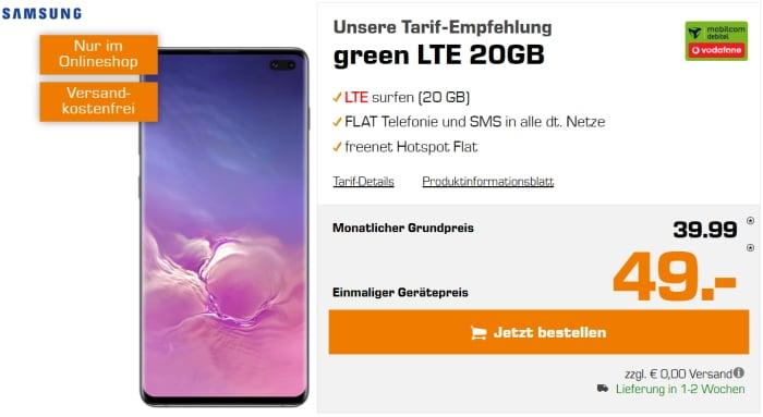 Samsung Galaxy S10 Plus + green LTE 20GB Vodafone bei Saturn