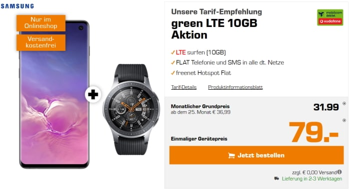 Samsung Galaxy S10 + Galaxy Watch LTE + md green LTE 10GB Vodafone bei Saturn