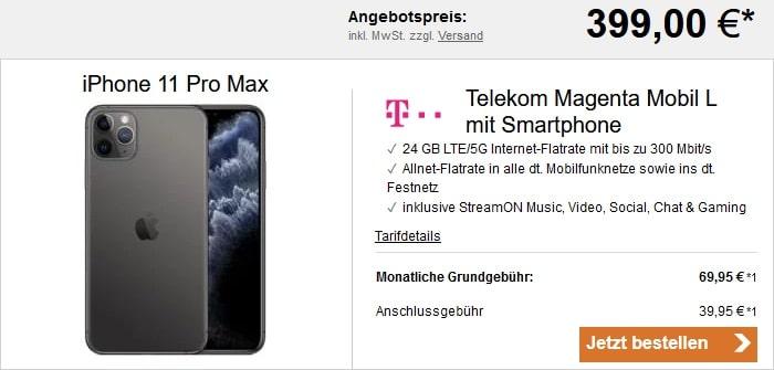 Apple iPhone 11 Pro Max + Telekom Magenta Mobil L bei LogiTel