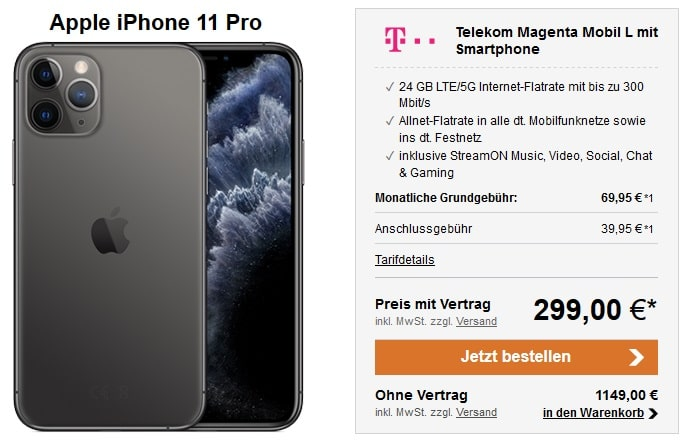 Apple iPhone 11 Pro + Telekom Magenta Mobil L LogiTel