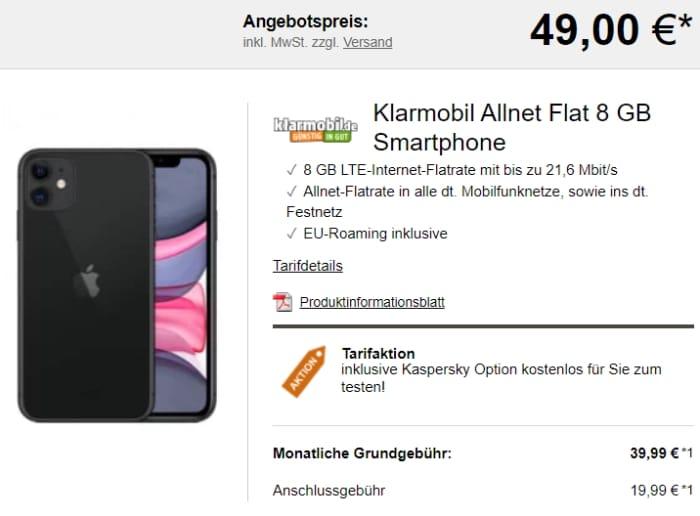 Apple iPhone 11 mit klarmobil Allnet Flat 8 GB Smartphone bei logitel