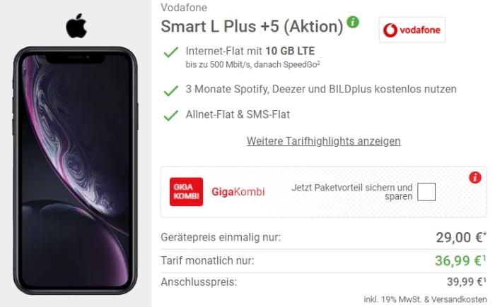 Apple iPhone Xr mit Vodafone Smart L Plus bei DeinHandy