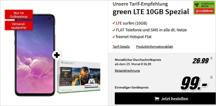 Samsung Galaxy S10e + Xbox One S Bundle + mobilcom-debitel green LTE (Vodafone-Netz) bei MediaMarkt