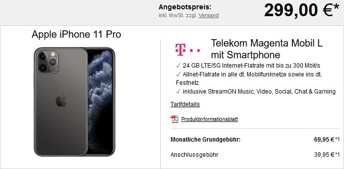 Apple iPhone 11 Pro + Telekom Magenta Mobil L bei LogiTel