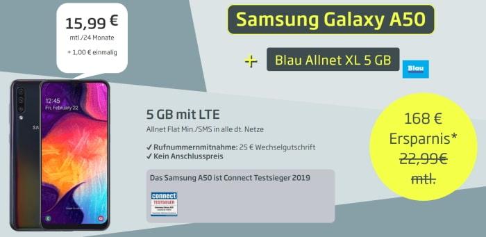 Samsung Galaxy A50 zum Blau Allnet XL bei curved