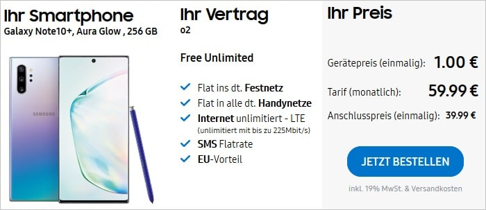 Samsung Galaxy Note 10 Plus + o2 Free Unlimited Samsung
