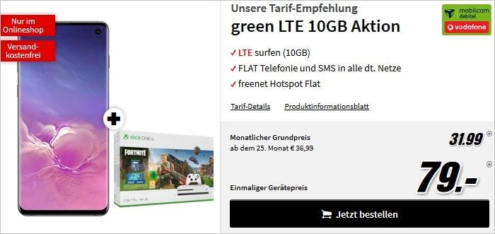 Samsung Galaxy S10 + green LTE Vodafone Fortnite Bundle Xbox