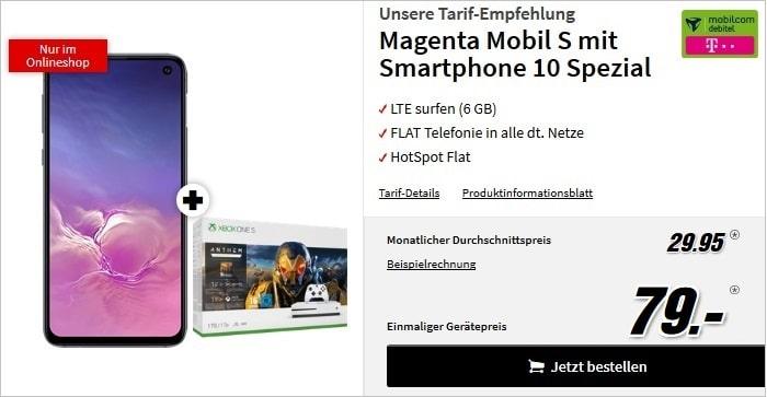 Samsung Galaxy S10e Xbox One S Anthem-Bundle + mobilcom-debitel Magenta Mobil S bei MediaMarkt