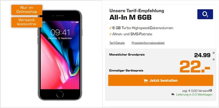 Apple iPhone 8 mit o2 Blue All-In M , Allnet-Flat mit 6 GB LTE
