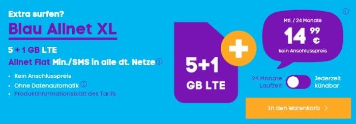Blau Allnet XL (SIM-only) Aktion mit 1 GB LTE extra