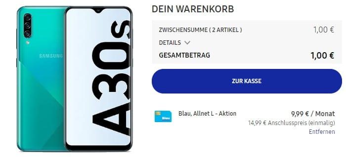Samsung Galaxy A30s + Blau Allnet L Aktion im Samsung Online Shop