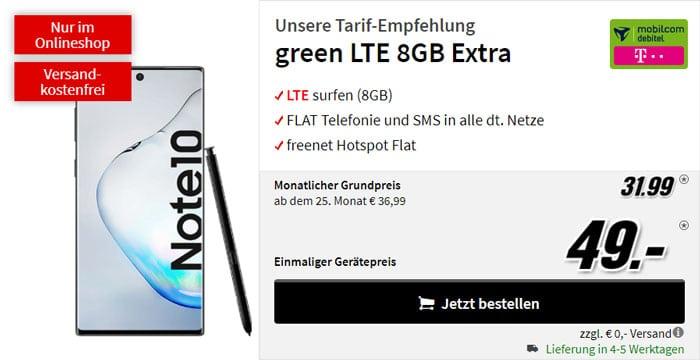 Samsung Galaxy Note 10 + mobilcom-debitel green LTE (Telekom-Netz) bei MediaMarkt