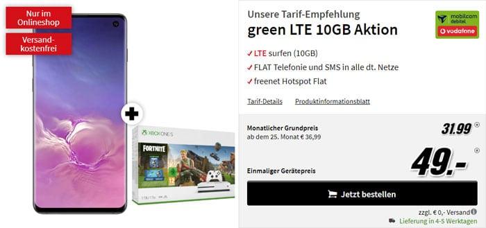 Samsung Galaxy S10 + Microsoft Xbox One S Fortnite-Bundle + mobilcom-debitel green LTE (Vodafone-Netz) bei MediaMarkt