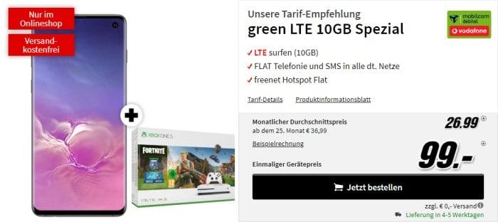 Samsung Galaxy S10 + Xbox One S (1TB) Fortnite-Bundle + mobilcom-debitel green LTE (Vodafone-Netz) bei MediaMarkt
