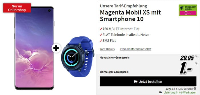 Samsung Galaxy S10 + Samsung Gear Sport + mobilcom-debitel Magenta Mobil XS (Telekom-Netz) bei MediaMarkt