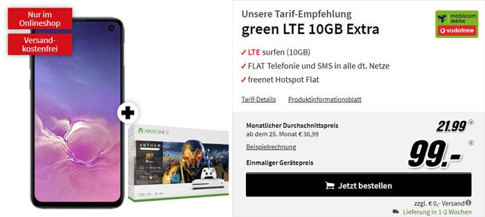 Samsung Galaxy S10e + Xbox One S Fortnite-Bundle + mobilcom-debitel green LTE (Vodafone-Netz) bei MediaMarkt