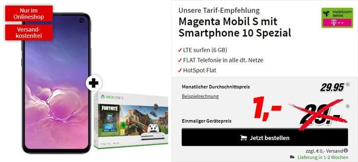 Samsung Galaxy S10e + Xbox One S Fortnite-Bundle + mobilcom-debitel Magenta Mobil S (Telekom-Netz) bei MediaMarkt
