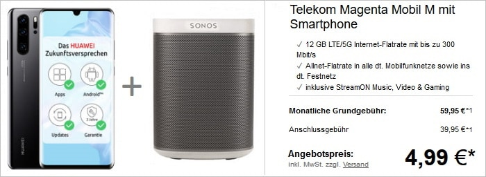 Huawei P30 Pro + Sonos Play:1 (Weiß) + Telekom Magenta Mobil M bei LogiTel