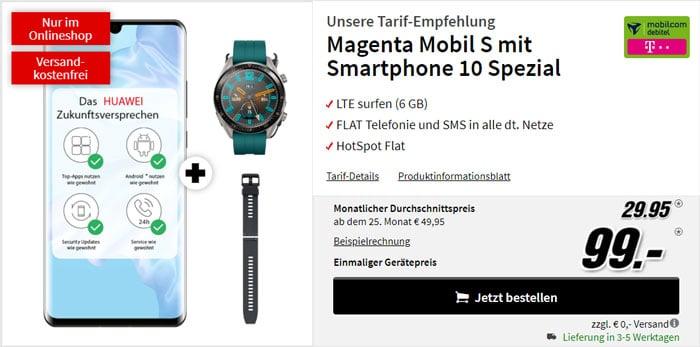 Huawei P30 Pro + Huawei Watch GT Active + Armband + mobilcom-debitel Magenta Mobil S (Telekom-Netz) bei MediaMarkt