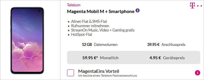Samsung Galaxy S10e + Telekom Magenta Mobil M bei Preisboerse24