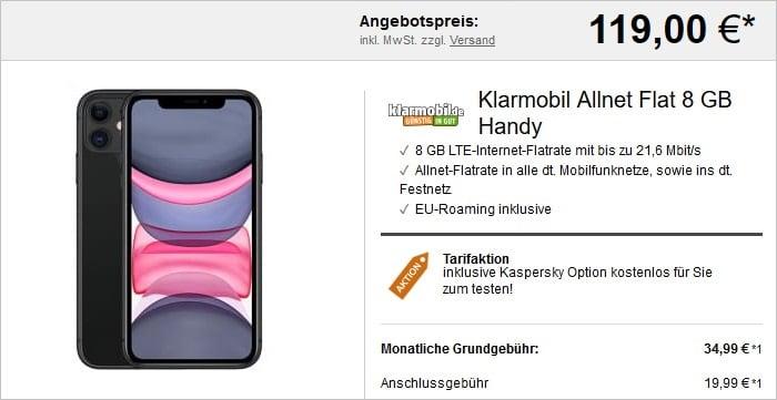 iPhone 11 + klarmobil Allnet-Flat 8 GB LTE bei LogiTel