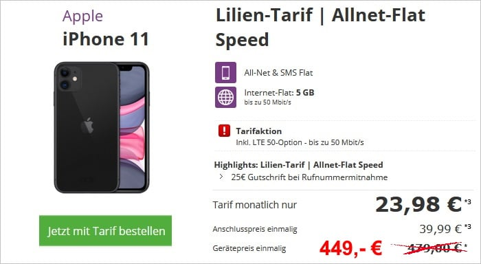 Apple iPhone 11 + otelo Lilien-Tarif Speed