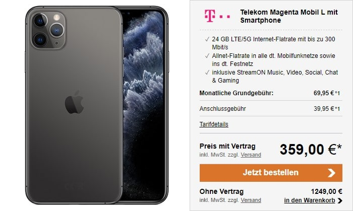 iPhone 11 Pro Max + Telekom Magenta Mobil L bei LogiTel