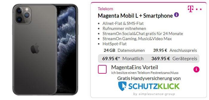 iPhone 11 Pro Max + Telekom Magenta Mobil L bei Preisboerse24