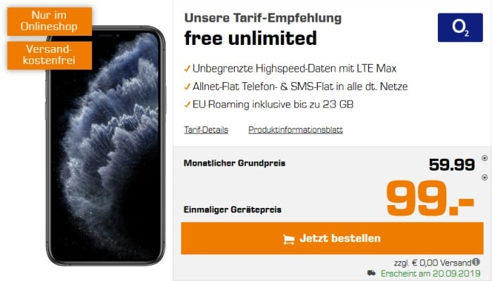 iPhone 11 Pro + o2 Free Unlimited bei Saturn