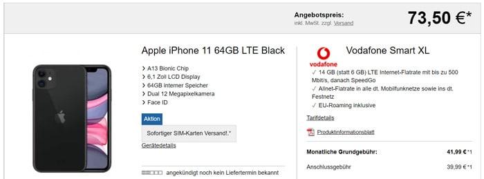 Apple iPhone 11 mit Vodafone Smart xL
