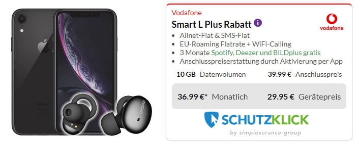 iPhone Xr 128GB + 1More Stylish True Wireless BT-Kopfhörer + Vodafone Smart L Plus bei Preisboerse24