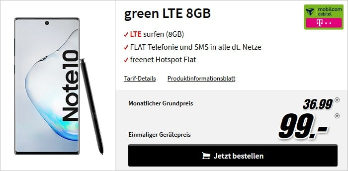 note 10 green lte telekom 8gb 99zz mm