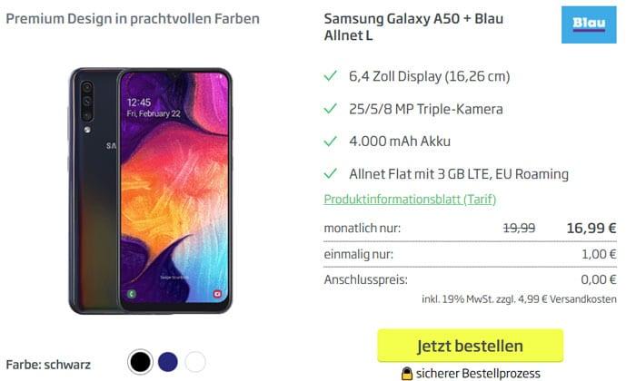 Samsung Galaxy A50 mit Vertrag Blau Allnet L