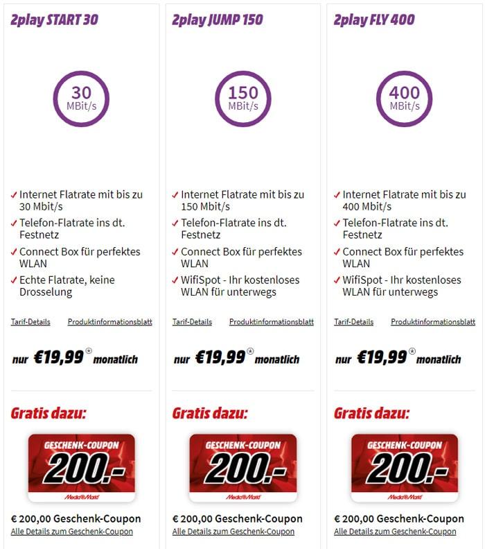 MediaMarkt Aktion: Unitymedia Kabel-Internet-Tarife mit bis zu 400 MBit/s + 200 € Geschenk-Coupon