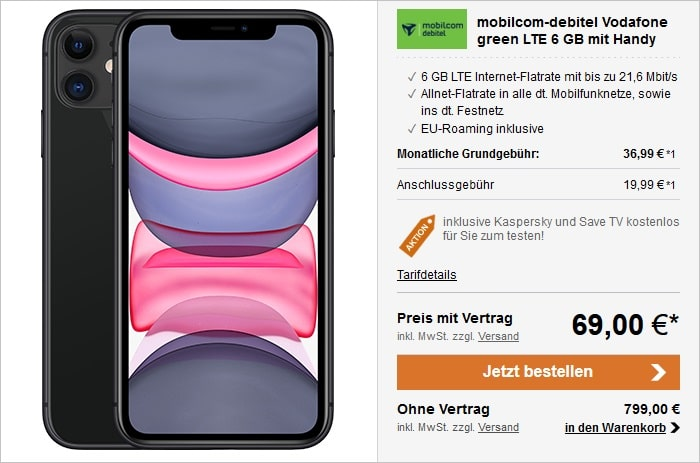 Apple iPhone 11 64GB LTE Black mit mobilcom-debitel Vodafone green LTE 6 GB