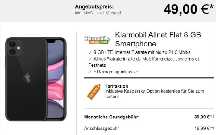 Apple iPhone 11 + klarmobil Allnet Flat 8 GB bei LogiTel