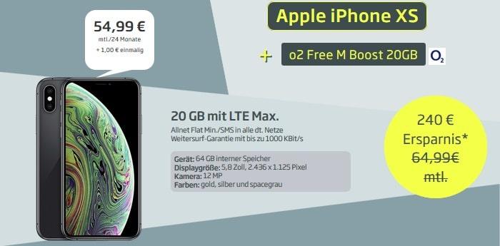 Apple iPhone XS 64GB + o2 Free M Boost 20 GB CURVED