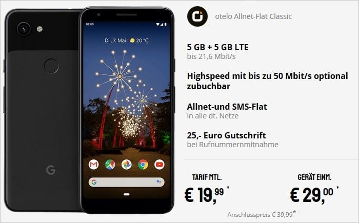 Google Pixel 3a zur otelo Allnet-Flat Classic mit 10 GB LTE im Vodafone-Netz bei Sparhandy
