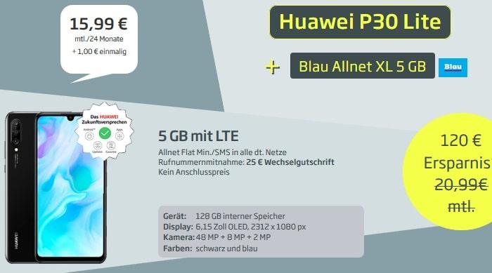Huawei P30 Lite mit Blau Allnet XL 5 GB