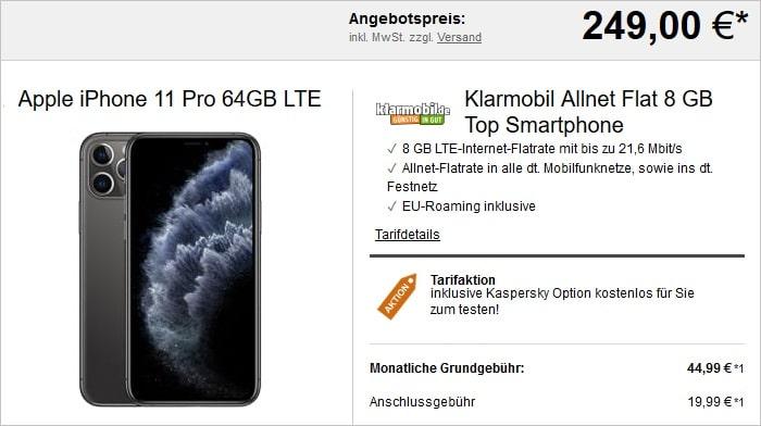 Klarmobil Allnet Flat 8GB mit Apple iPhone 11 Pro LogiTel
