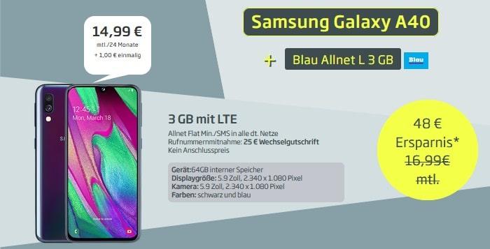 Samsung Galaxy A40 mit Blau Allnet L 3 GB