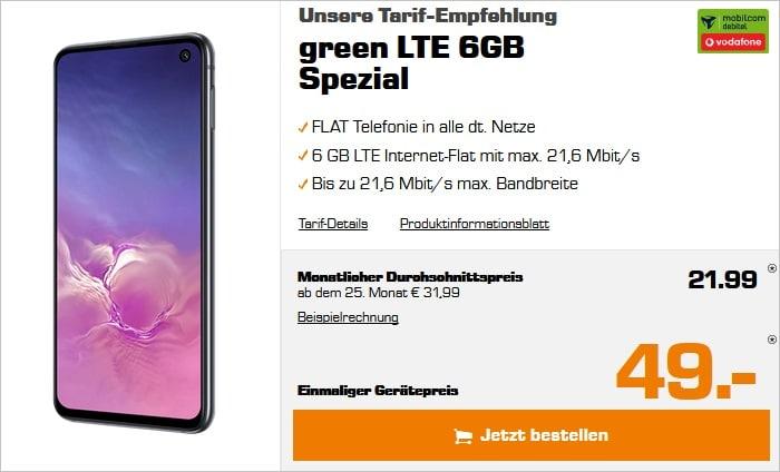 Samsung Galaxy S10e mit green lte vodafone 6 gb