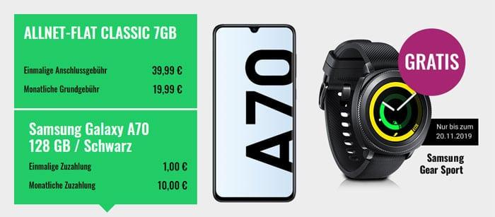 Samsung Galaxy A70 + Samsung Gear Sport + FYVE Allnet-Flat (Vodafone-Netz) bei FYVE