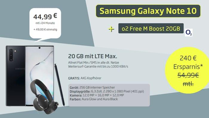 Samsung Galaxy Note 10 + AKG Y500 Kopfhörer + o2 Free M Boost bei Curved