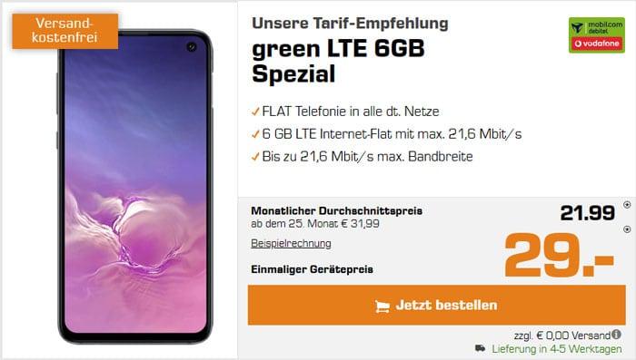 Samsung Galaxy S10e + mobilcom-debitel green LTE (Vodafone-Netz) bei Saturn