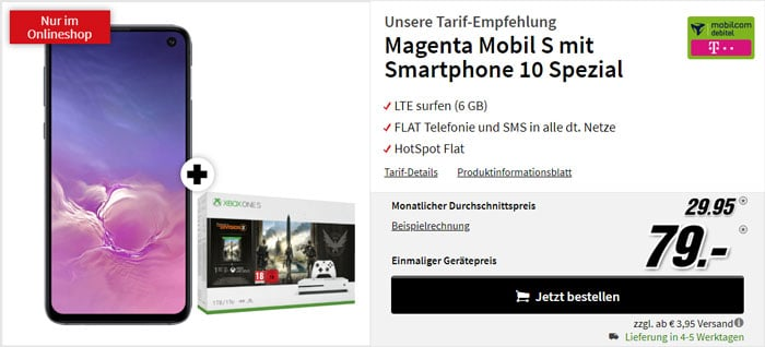 Samsung Galaxy S10e + Xbox One S The Division 2 Bundle + mobilcom-debitel Magenta Mobil S (Telekom-Netz) bei MediaMarkt