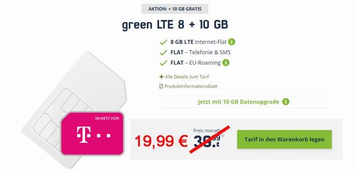 mobilcom-debitel Allnet-Flat und 18 GB LTE Datenflat im Telekom-Netz für 19,99 € pro Monat